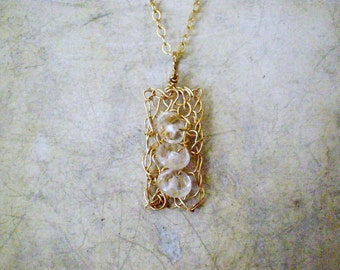 Delicate crochet pendant necklace, 14k gold filled crystal quartz crochet necklace