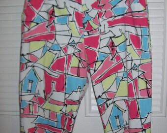 Pants 14, Talbot's petite geometric Picasso mod capris, stretch 14 - never worn