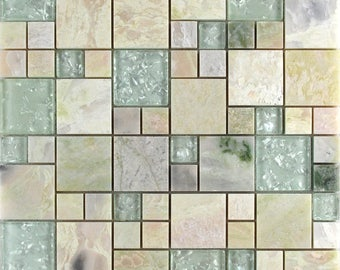 """Natural Stone and Crystal Mosaic Tile Pink Marble Crackle Glass Kitchen Backsplash Cheap Floor and Wall Tiles (6 PCS, 11.8""""x11.8"""" /each)"""