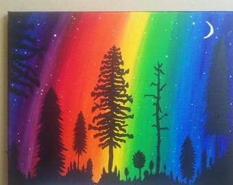 Colorful Night Sky Aurora Borealis Northern Lights Trees Woods Moon Painting Original  Ready now!