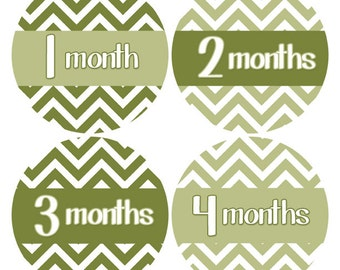 Baby Month Stickers, Monthly Baby Stickers, Green Chevron, Baby Age Stickers, Chevron Nursery Decor, Baby Growth Stickers, 1-12 month (418)