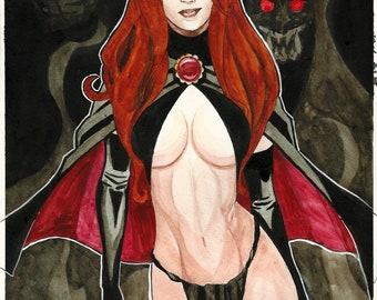 Original Watercolor  of Marvel Comics The Goblin Queen