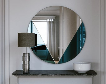 Blue Modern Mirror. Hanging Blue Glass Mirror Wall Decor. Frameless 1930s Style Wall Mirror with Blue Glass