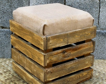 Pouf Wooden stool with box