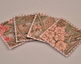 Pink Cotton Coasters Upcycled Fabrics Reversible Square