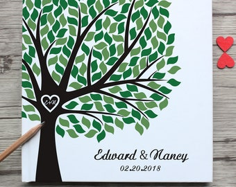 Personalzied monogram wedding guest book,custom spring tree-green-leaves-heart with name and date white wedding guest book,wedding souvenir