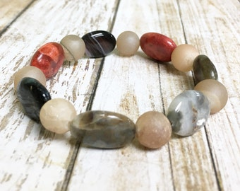 Druzy Bracelet, Boho Bracelet, Semi-precious Stone Bracelet, Multicolor Bracelet