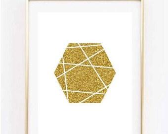 Gold Hexagon Geometric Print