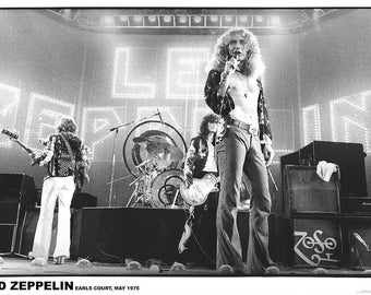 Led Zeppelin Earls Court London May 1975  33 x 23 inches approx  Vintage Rare Uk Poster and Wooden Poster Hanging Kit  Included