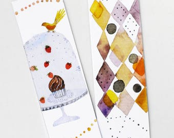 Set of bird abstract watercolor bookmark, Paper bookmarks, Art bookmark, Page maker, Cute stationery, Cute bookmarks, Bird lover gifts