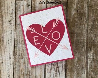 Valentine's Day Card, Love Card, Heart Card, Handmade Valentine Card, Valentine Card, Valentine For Husband, Valentine For Wife, Love, Heart