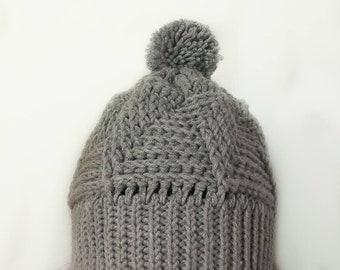 Grey Textured Crochet Hat