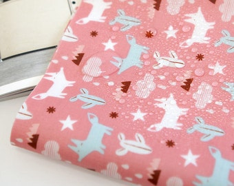 Laminated Cotton Fabric - Foxes - Pink - By the Yard 89322