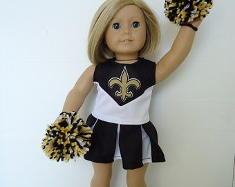 """American Doll 18"""" Girl New Orleans Saints Cheerleader, Pompoms and Gym Shoes"""