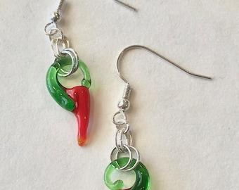Hot Pepper Drops, Hot pepper Earrings, chili pepper earrings, glass chili pepper drop earrings