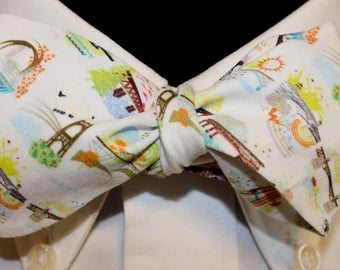 PORTLAND BRIDGETOWN--Handmade bow tie, novelty cotton, colorful scenes of Portland's many BRIDGES on a white field, for well dressed persons
