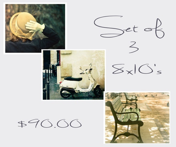 Set, Paris Photography, Travel Photos, Set of Three, 8x10 Prints, Wall, Home Decor, Spring, Vintage Look