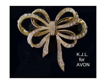 AVON Bow Pin * Kenneth J. Lane * Ribbon Bow Statement Brooch * White Rhinestones * Classic Vintage