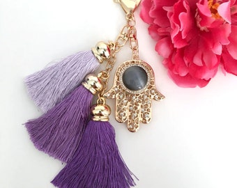 hamsa hand with tassels keychain - tassel key chain - women's gift - hand of fatima keychain accessory