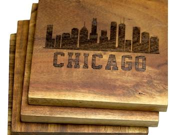 Chicago, Illinois Skyline Coasters - Set of 4 Engraved Acacia Wood Coaters