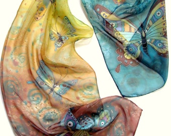 Hand painted Silk scarf  on chiffon - Elegant hand dyed scarf with  butterflies.100% silk.  Made to order.