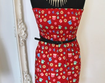 Ladies Red Owl Strapless Dress (UK Size 8 - 12 ) sun holiday flowers vacation party