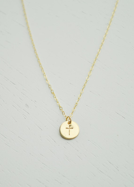 Gold cross necklace small 14k gold filled disc charm hand aloadofball Images