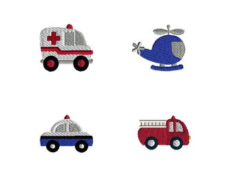 Mini Rescue Vehicles Machine Embroidery Design Set-INSTANT DOWNLOAD