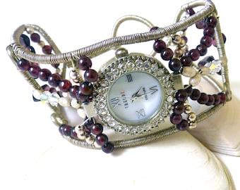 Sterling Silver and Garnet Watch Cuff