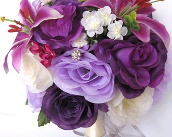 "Wedding Bouquet 17 piece package  Bridal Bouquets Silk flower Bouquet PURPLE Lily PLUM LAVENDER Bridal flowers Centerpiece ""RosesandDreams"""