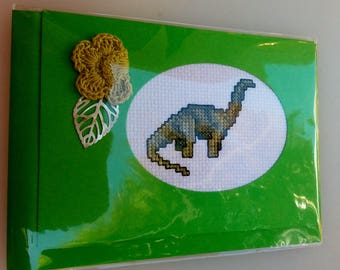 Apatosaurus cross-stitched card