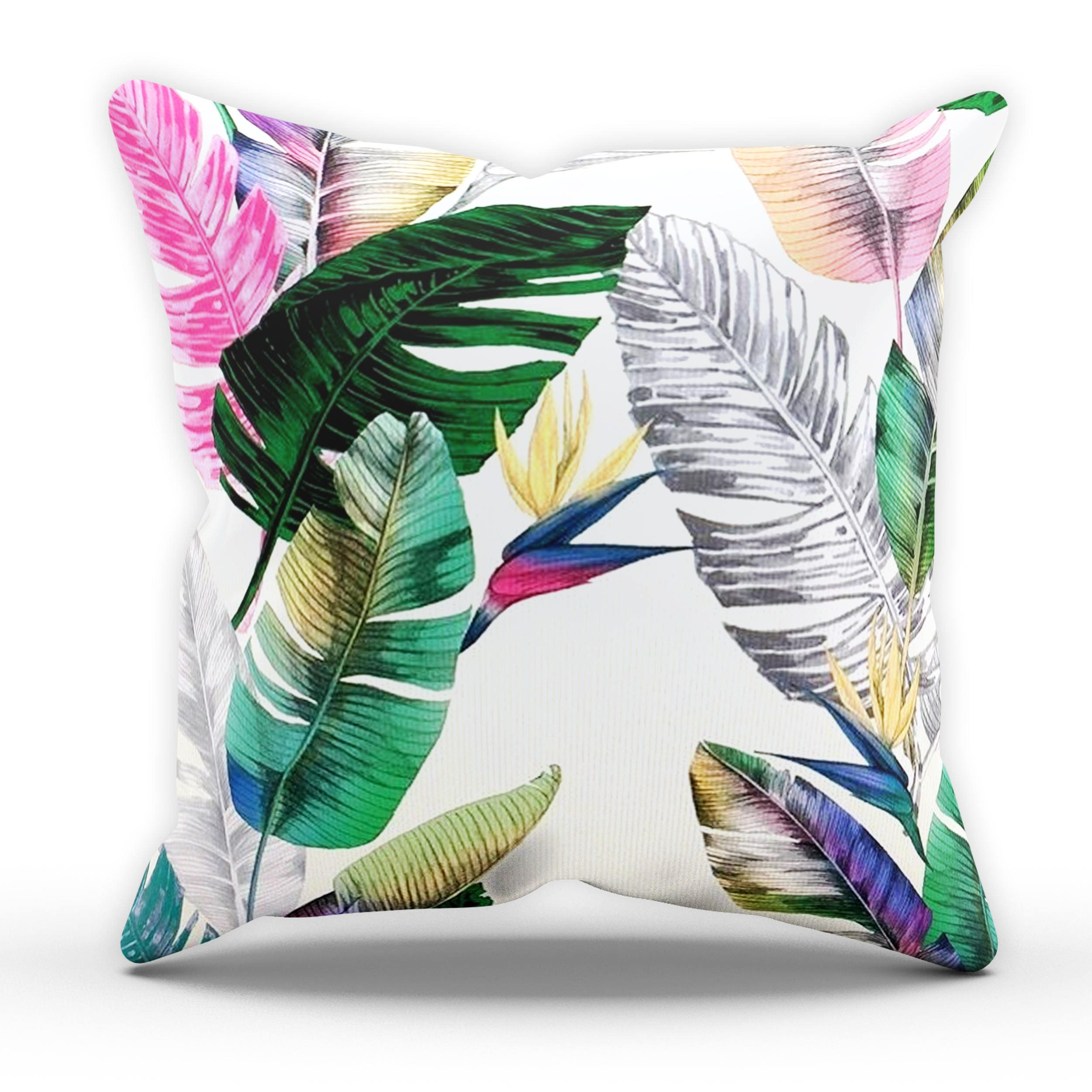 Neon Leaf Cushion Tropical Cushion Palm Leaf Cushion Garden