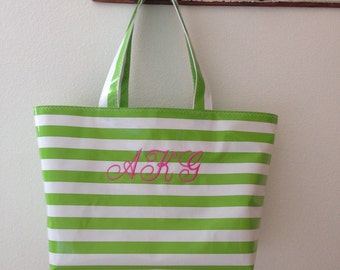 Beth's Large Stripes Oilcloth Tote Bag with Monogram
