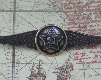 Russian Hammer and Sickle Winged Pin. Steampunk Winged Pin, Airship Pirate PIn, Goth Pin, Rocker Pin, Antiqued Button Pin