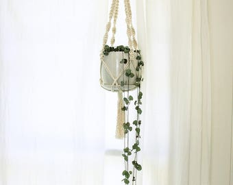 Small Macrame Plant Hanger - Natural Cotton Rope Hanger, Hanging Planter | Handmade to Order | Free Shipping Australia