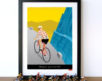 PERSONALISED Cycling Art, Customisable Jersey, Name, Race Number, Hair, Eye and Bike Colour - Breakaway