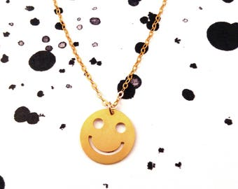 Smiley Necklace Gold Filled Necklace Smiley Icon Jewelry Design Art Logo Necklace Gold Silver Plated Small Pendant Miniature Minimalist