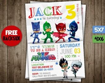 Pj Masks Invitation, Pj Masks Birthday Invitation, Pj Masks Party, Pj Masks Printable, Pj Masks Invite, Pj Masks Birthday Party