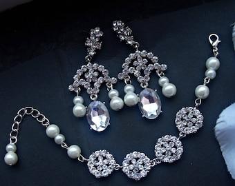 Bridal jewelry set wedding jewelry bridal earrings bridal cuff bracelet chandelier earrings wedding earrings wedding bracelet rhinestone set