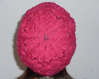 Merino Beanie hand knitted hot pink