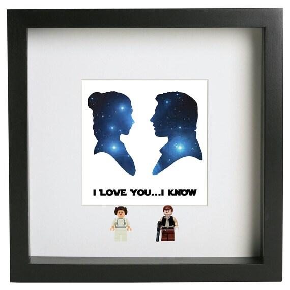 I love you ... I know Star Wars 3D lego frame Princess Leia