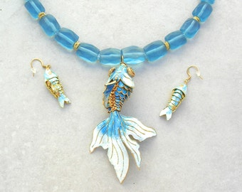 Articulated Blue Enameled Cloisonné Fish, Gold & Old Afghan Glass beads, Articulated Fish Earrings, Statement Necklace Set by SandraDesigns