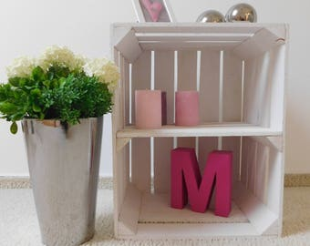"""White wooden crates with floor """"shabby-chic"""""""