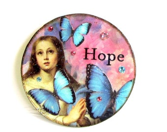 Religious Magnet Fridge Magnet Madonna with Blue Butterflies Catholic Gift Vintage Virgin Mary Decoupaged Wood Mothers Day Gift for Mom