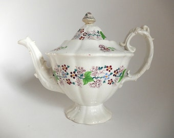 Antique 1800's English Paste Ware Hand Painted Teapot