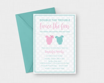 """Double the Trouble Twins Baby Shower 5"""" x 7"""" Invitation - Digital or Printed"""