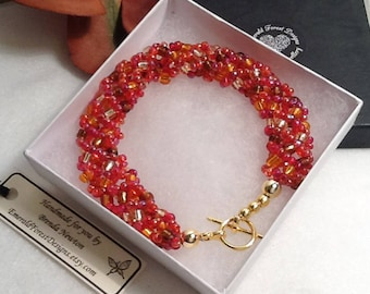 Autumn Forest Beaded Bracelet in Copper, Red & Gold Handmade by Emerald Forest Designs