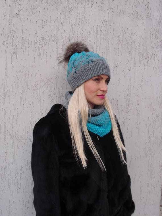 Free Shipping Ombre pom pom hat and cowl gray hat blue 9a3afb1e343c