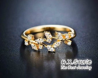 Solid 18k Gold Olive Branch Diamond Ring, Wrap Diamond Vine Wedding Ring,Twisted Olive Twig Elegant Ring,Goddess Athena Symbol Greek Jewelry