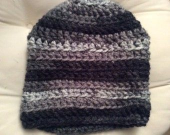Hand crocheted grey striped slouch beanie
